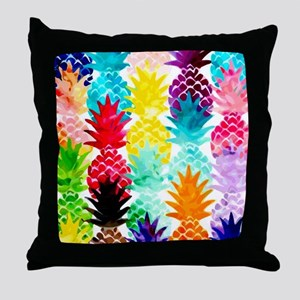 Colorful Tropical Pineapple Pattern Throw Pillow