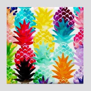 Colorful Tropical Pineapple Pattern Tile Coaster