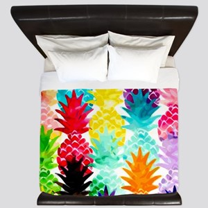 Colorful Tropical Pineapple Pattern King Duvet