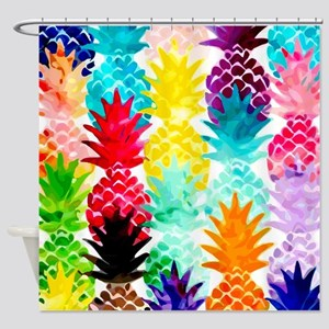 Colorful Tropical Pineapple Pattern Shower Curtain