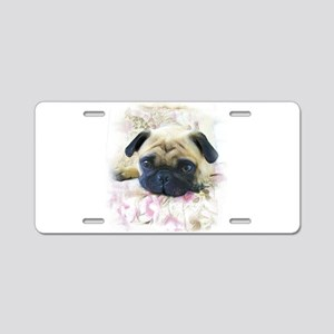Pug Dog Aluminum License Plate