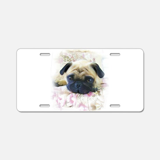 Pug Dog Aluminum License Plate