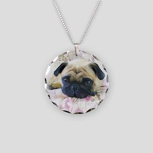 Pug Dog Necklace Circle Charm