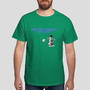 Soccer Ball Snowman Dark T-Shirt