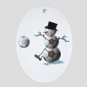 Soccer Ball Snowman Ornament (Oval)