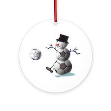 Soccer Ball Snowman Ornament (Round)