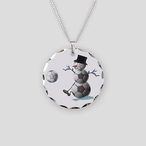 Soccer Ball Snowman Necklace Circle Charm