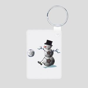 Soccer Ball Snowman Aluminum Photo Keychain