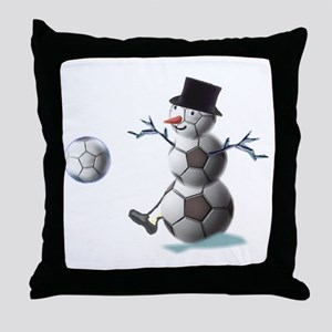 Soccer Ball Snowman Throw Pillow