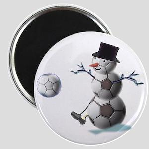 """Soccer Ball Snowman 2.25"""" Magnet"""