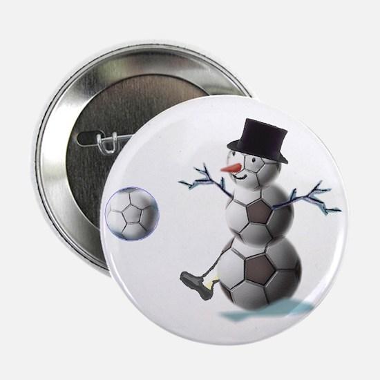 """Soccer Ball Snowman 2.25"""" Button (10 pack)"""