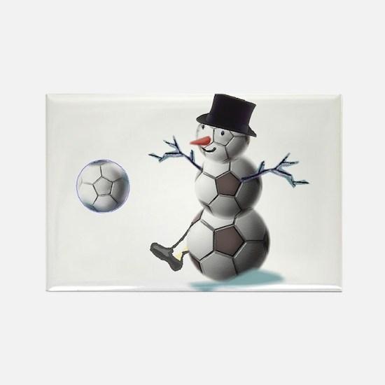 Soccer Ball Snowman Rectangle Magnet (10 pack)