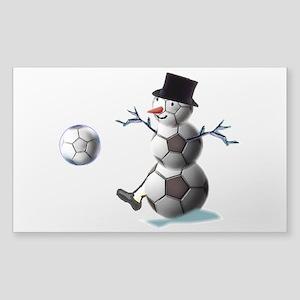 Soccer Ball Snowman Sticker (Rectangle 10 pk)