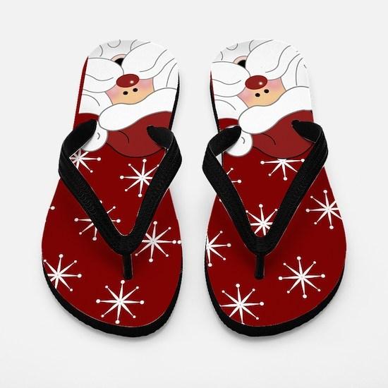 Santa Claus Christmas Holiday Flip Flops (Red)