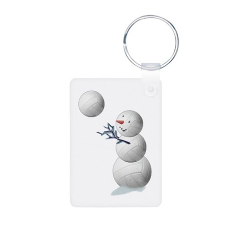 Volleyball Snowman Aluminum Photo Keychain