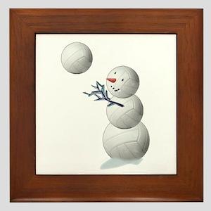 Volleyball Snowman Framed Tile