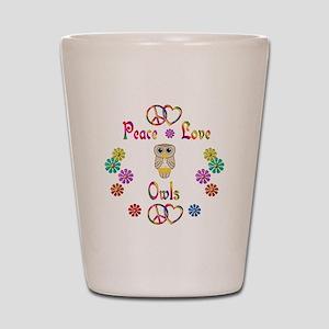 Peace Love Owls Shot Glass