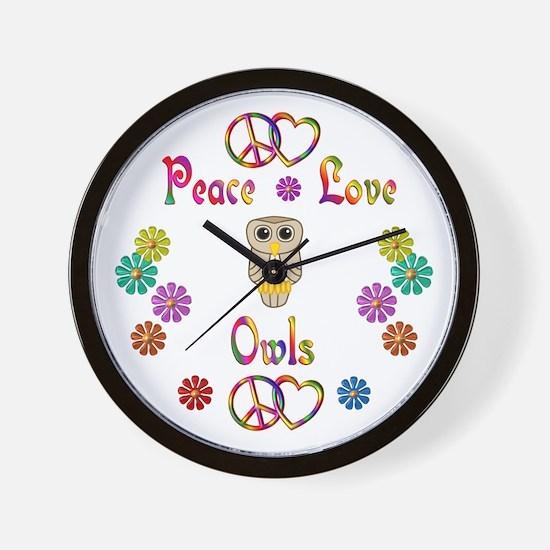 Peace Love Owls Wall Clock
