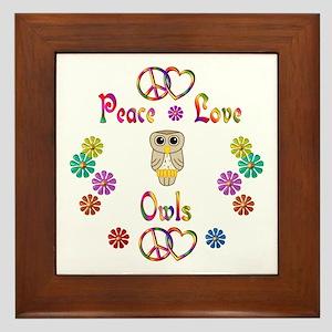Peace Love Owls Framed Tile