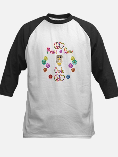 Peace Love Owls Kids Baseball Jersey