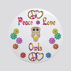 Peace Love Owls Ornament (Round)