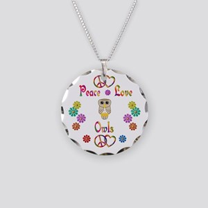 Peace Love Owls Necklace Circle Charm