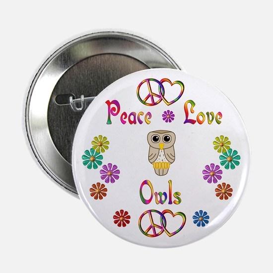 "Peace Love Owls 2.25"" Button"