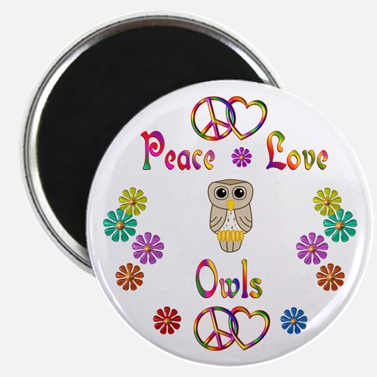"Peace Love Owls 2.25"" Magnet (100 pack)"