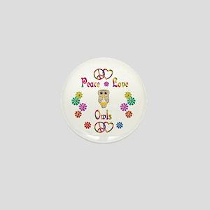 Peace Love Owls Mini Button