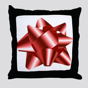 Christmas Red Bow Throw Pillow