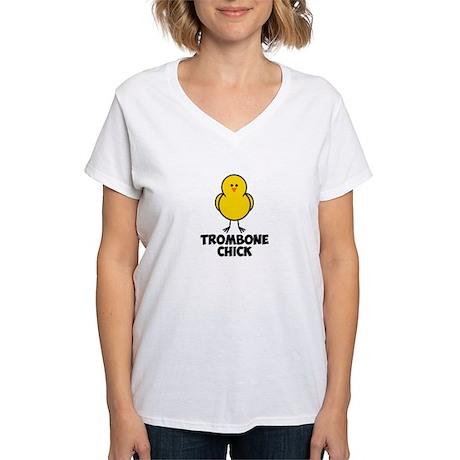 Trombone Chick Women's V-Neck T-Shirt