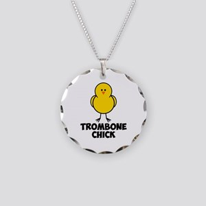 Trombone Chick Necklace Circle Charm
