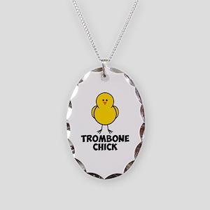 Trombone Chick Necklace Oval Charm