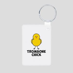 Trombone Chick Aluminum Photo Keychain