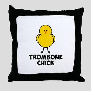 Trombone Chick Throw Pillow