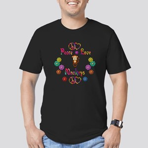 Peace Love Monkeys Men's Fitted T-Shirt (dark)