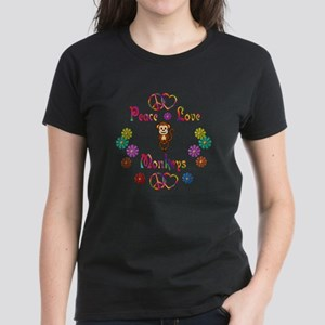 Peace Love Monkeys Women's Dark T-Shirt