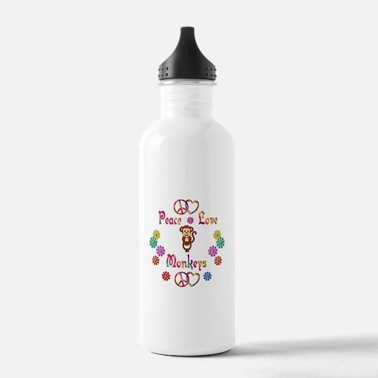 Peace Love Monkeys Sports Water Bottle