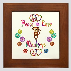 Peace Love Monkeys Framed Tile