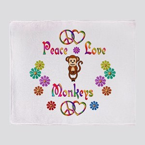 Peace Love Monkeys Throw Blanket