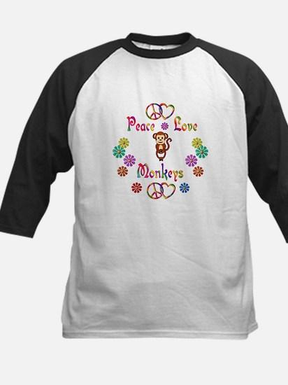 Peace Love Monkeys Kids Baseball Jersey