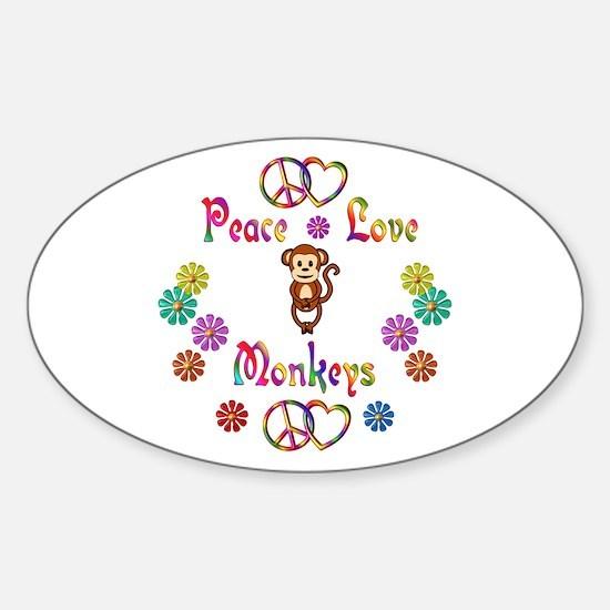 Peace Love Monkeys Sticker (Oval)
