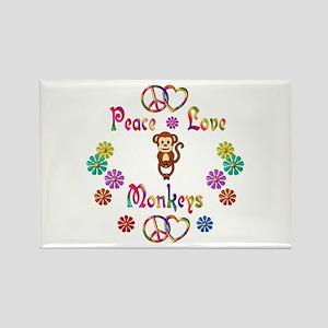 Peace Love Monkeys Rectangle Magnet