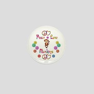 Peace Love Monkeys Mini Button