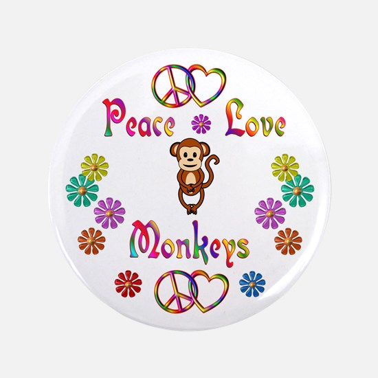 "Peace Love Monkeys 3.5"" Button (100 pack)"