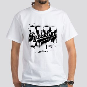 Brooklyn NY Graffiti Spray White T-Shirt