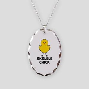 Ukulele Chick Necklace Oval Charm