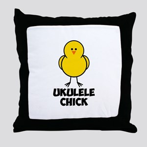 Ukulele Chick Throw Pillow
