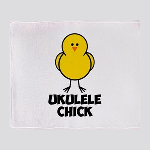 Ukulele Chick Throw Blanket