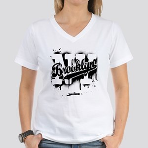 Brooklyn NY Graffiti Spray Women's V-Neck T-Shirt